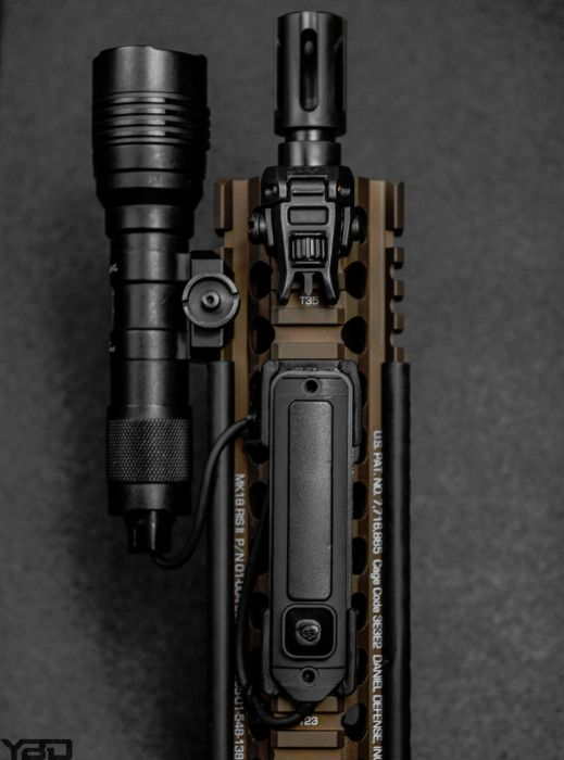Top down view of the front end of a MK18.