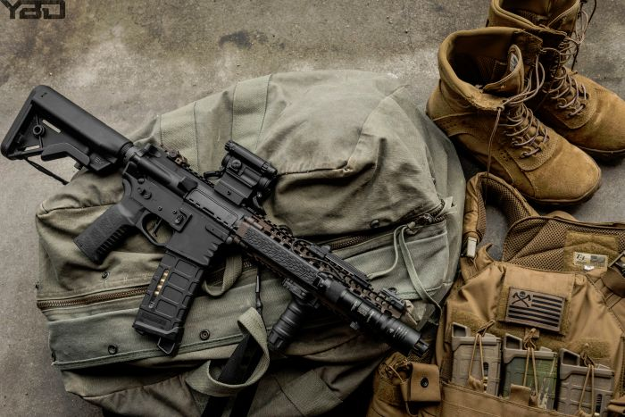 MK18 with T3 Gear's Geronimo 2 plate carrier and a pair of Rocky Boots.