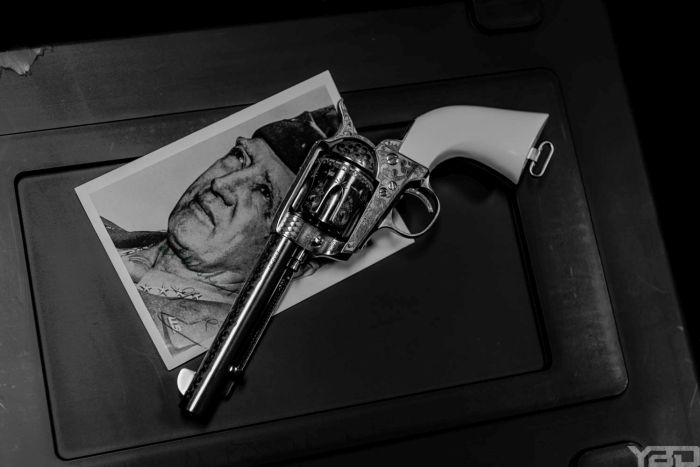 A General George S Patton commemorative edition single action engraved revolver.