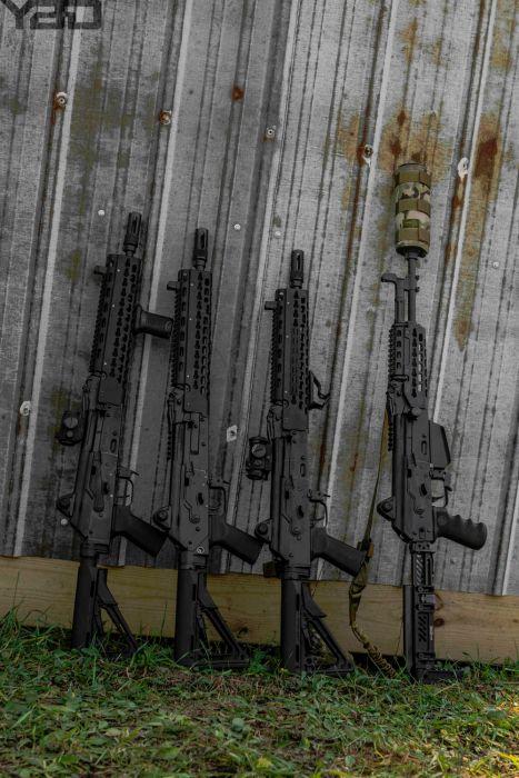 A line up of KREBS Custom AK-47s.