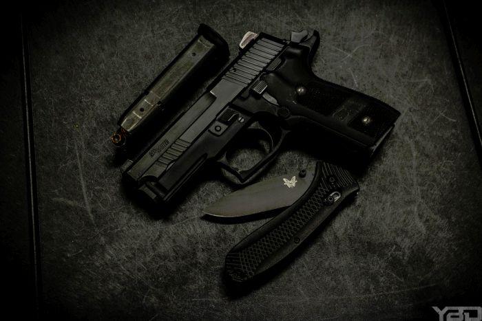 Sig Sauer P229 Bark Elite with Benchmade Presidio Ultra folding knife.