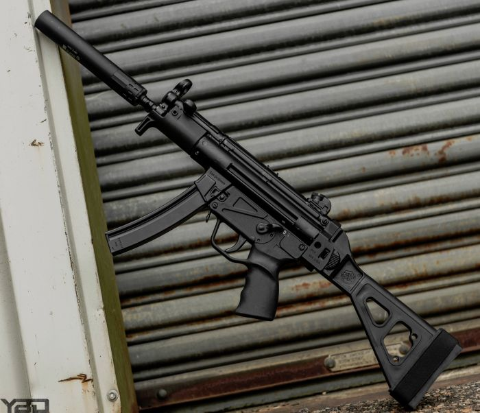 A Zenith Firearms MP5k clone with SB Tactical Brace and Gemtech GM-9 Suppressor.