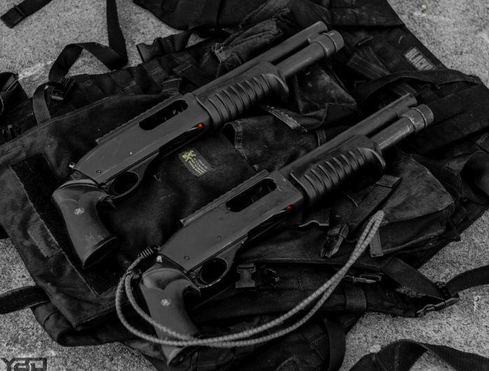 Two Remington 870 Magnum 12-gauge shotguns used for breaching at GTI.