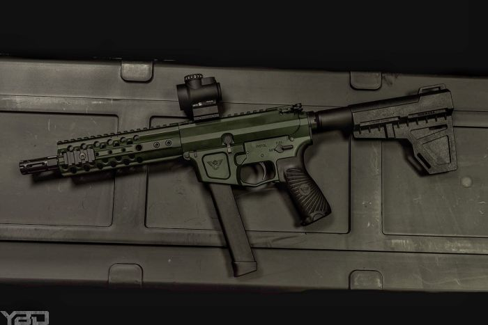 A Wilson Combat AR9 Pistol with KAK Shockwave Pistol Brace and a Trijicon MRO.