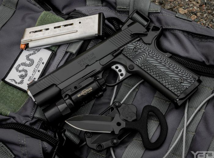 A Springfield Armory Range Officer Operator with Ed Brown magwell, VZ G-10 Grips, and Surefire X-300u light.