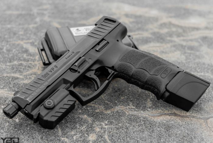 Heckler & Koch VP9LE with MantisX Firearms Training System.