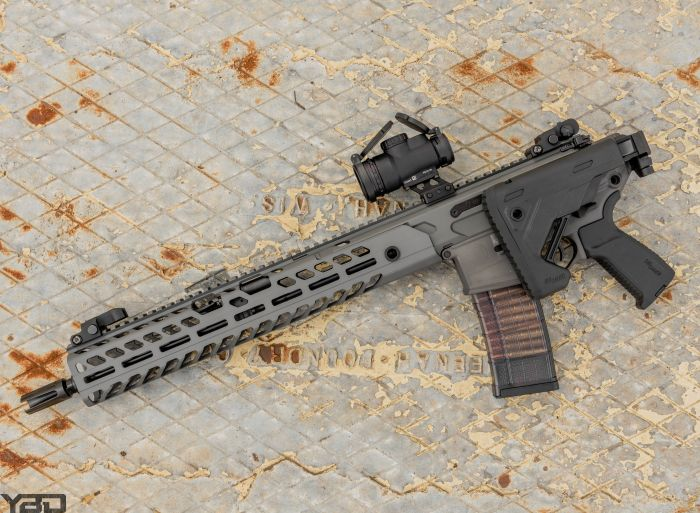 A Sig Sauer MCX VIRTUS with Trijicon MRO Patrol Red Dot.