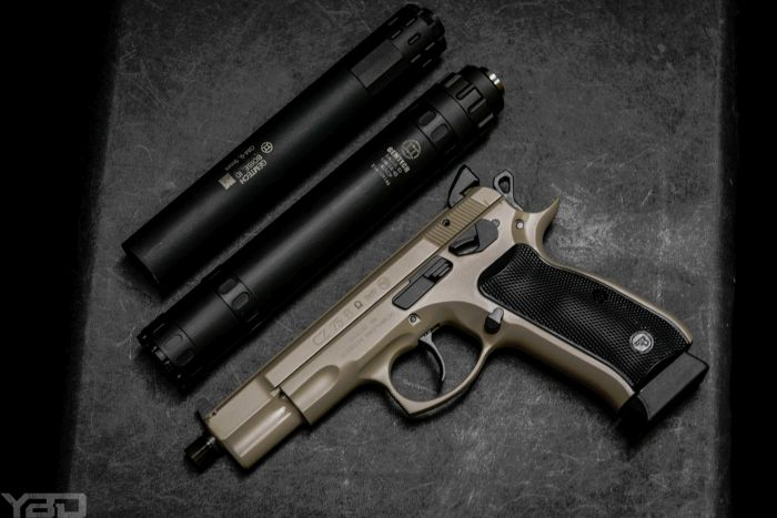 A couple of Gemtech Suppressor options for this awesome FDE CZ 75 B Omega