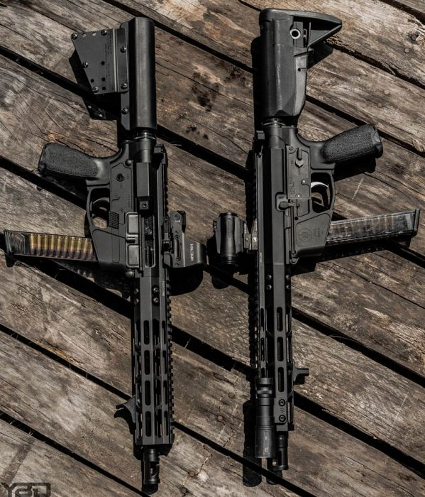 Two PWS PCC-9 firearms!  On in pistol form (left) and the other as a SBR (right).