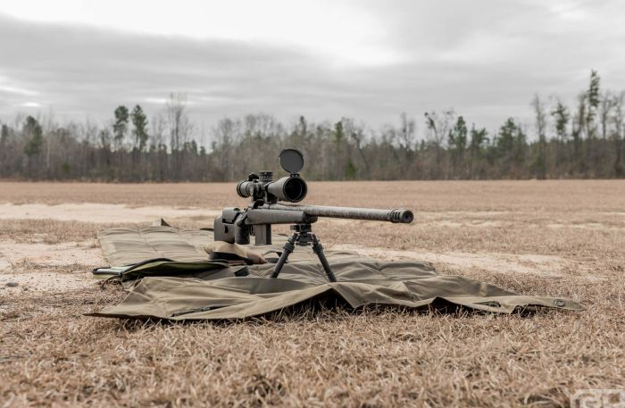 A custom 300 Norma Mag bolt action rifle with Proof Research Barrel and Nightforce Scope.