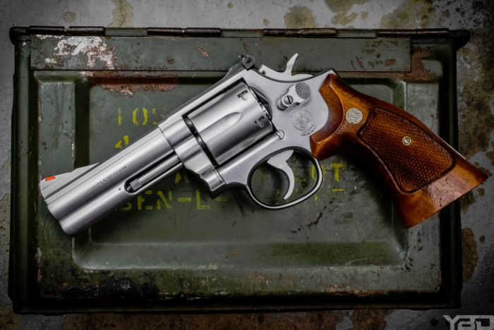 You can't beat the classics.  S&W 686 revolver chambered in 357 magnum.
