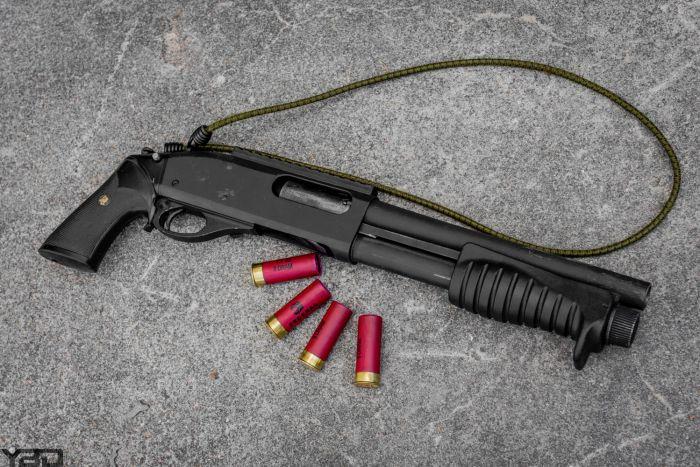 A Remington 870 Magnum breaching shotgun used for ballistic breaching at GTI.
