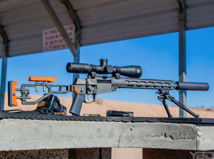 The Q FIX bolt action rifle on the range during Media Day at SHOT Show 2017.