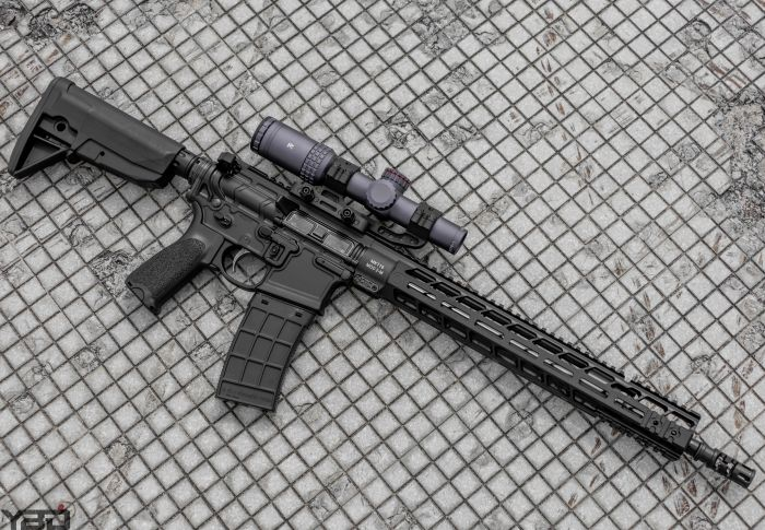 The PWS MK116 MOD 2-M with MERCON 1-6 optic.