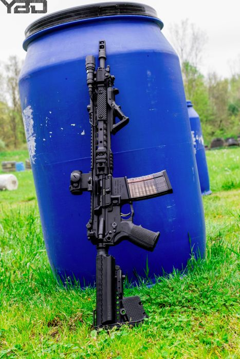 A decked out Knights Armament SR-15 putting in some work on the range.