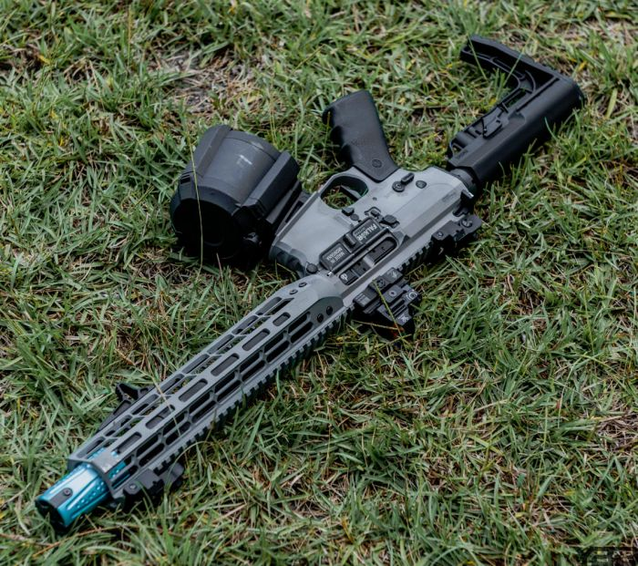 The Falkor Defense BLITZ SBR.  One futuristic rifle.