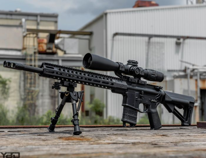 One amazing precision rifle.  The FN 15 DMR II with ZRO Delta bipod and scope mount and US Optics glass.