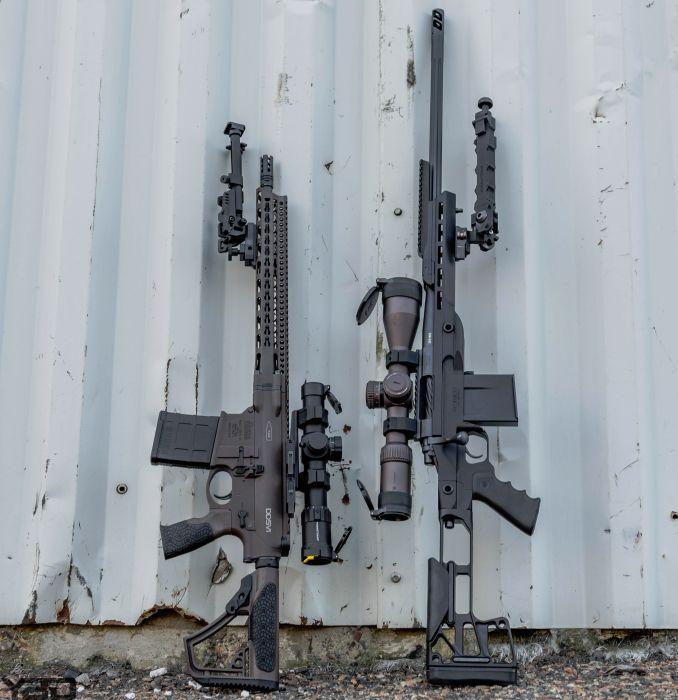 Pick your poison. Left: Daniel Defense DD5V1 Semi Auto 308. Right: Rainier Arms Precision Rifle Bolt Action 308