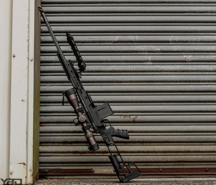 The Rainier Arms Precision Rifle with a Vortex Optics Razor 3-18x50 scope, Accu-Tac bi-pod, and Killer Innovations Chassis.