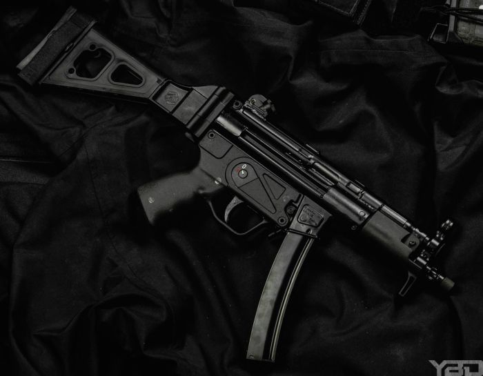 The Zenith Firearms MP5 clone with folding SB Tactical pistol brace.