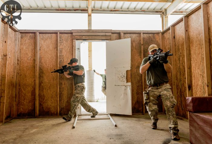Student practicing room entries in one of our shoot houses during our CQB class.