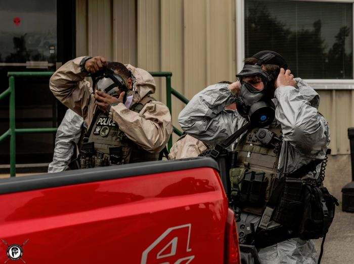 Students preparing for a CBRNE exercise during our TYPE I Advanced SWAT Course.