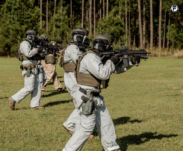 Students hoping for the best but preparing for the worst during a CBRNE exercise during our TYPE I Advanced SWAT Course.