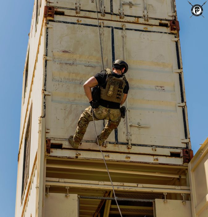 Students rappelling from our Rappel & Fast Rope Tower during our TYPE I Advanced SWAT Course.