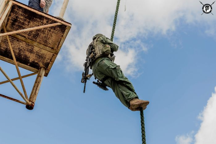 Students fast roping from the various levels on our Rappel & Fast Rope Tower during our TYPE I Advanced SWAT Course.