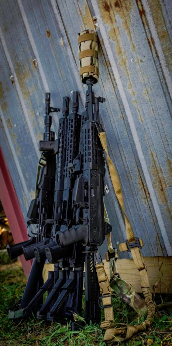 A solid line up of KREBS Custom Ak47s and AK74s.