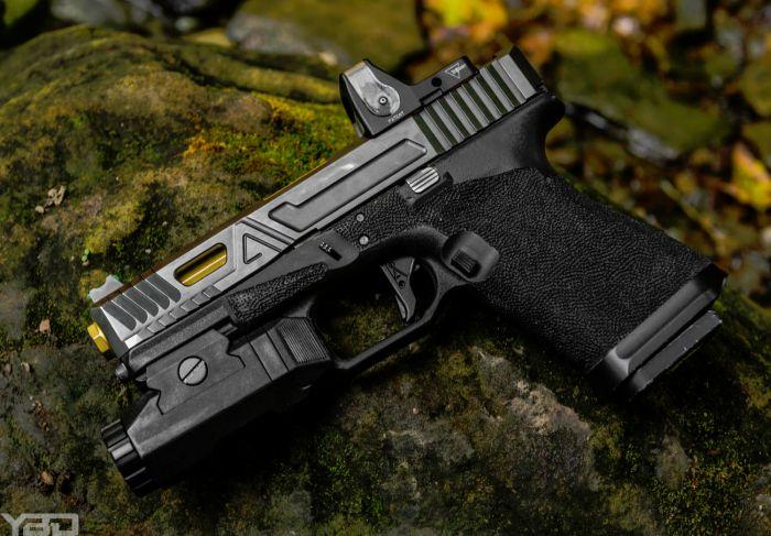 An Agency Arms custom Glock 19 Gen 3.
