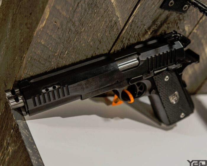 Yes, that is a double barreled 1911.  (SHOT Show 2018)