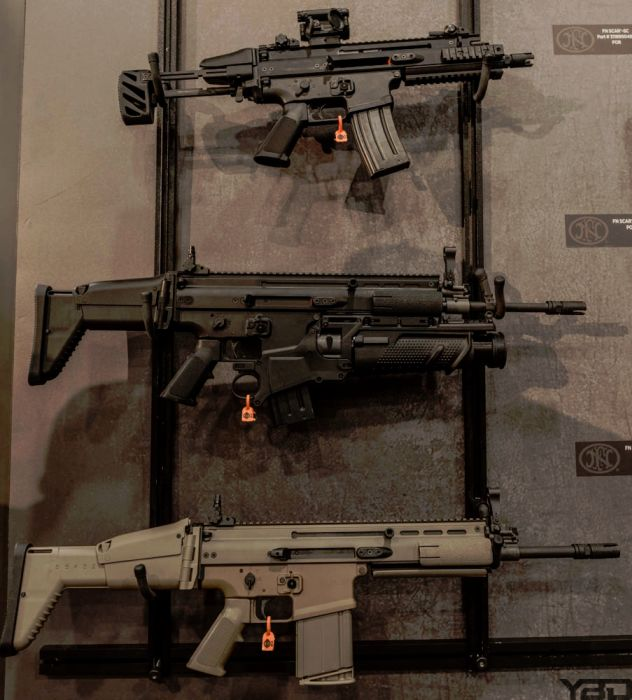 A perfect SCAR trio at the FN Booth.  (SHOT Show 2018)