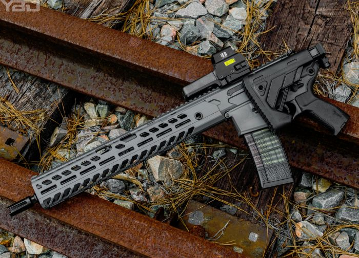 The Sig Sauer MCX VIRTUS with an EO Tech holographic sight.