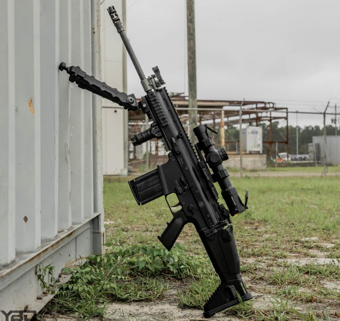 A SCAR 17S with Accu-Tac bipod, and a Primary Arms 1-8x24 ACSS Platinum Series scope.