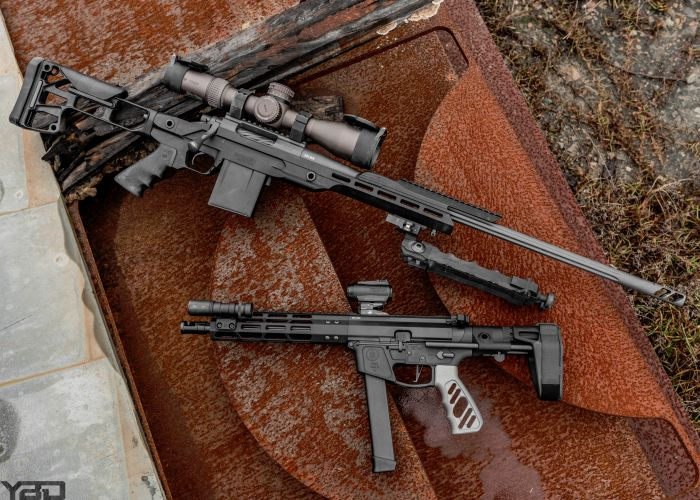 Talk about a size difference.  The Rainier Arms Precision Rifle next to the PWS PCC-9.