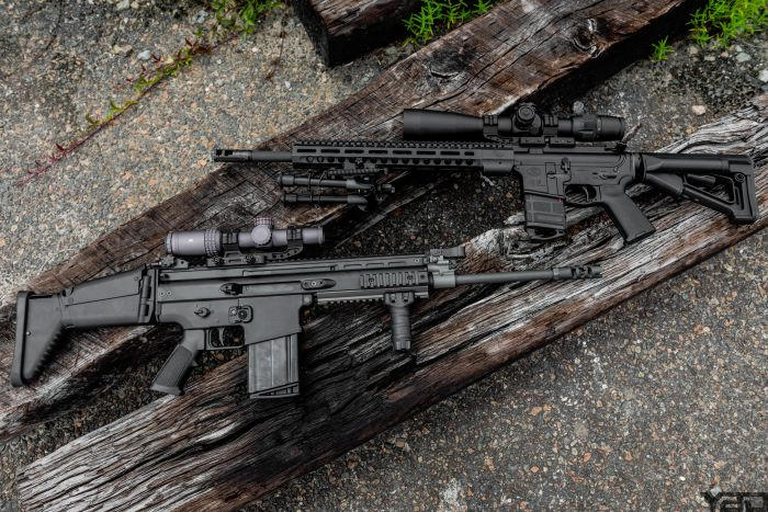 Two solid precision options: FN DMR II with an US Optics B-17 IGR 3.2-17x scope (Top), FN SCAR 17S with MERCON MK1 1-6 Optic (Bottom) .
