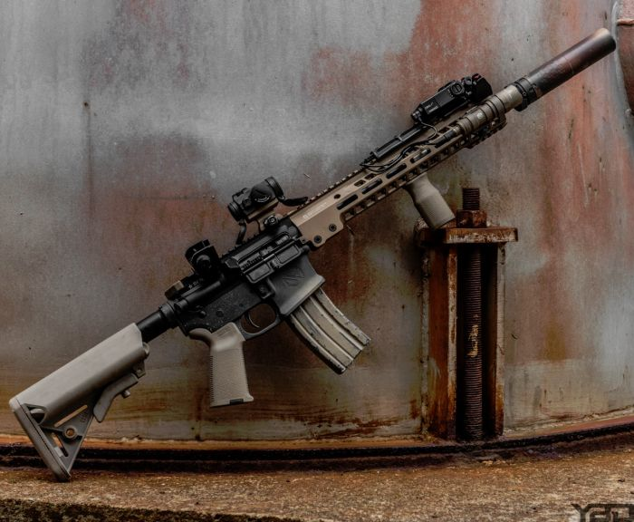 A custom built rifle with all the bells and whistles.
