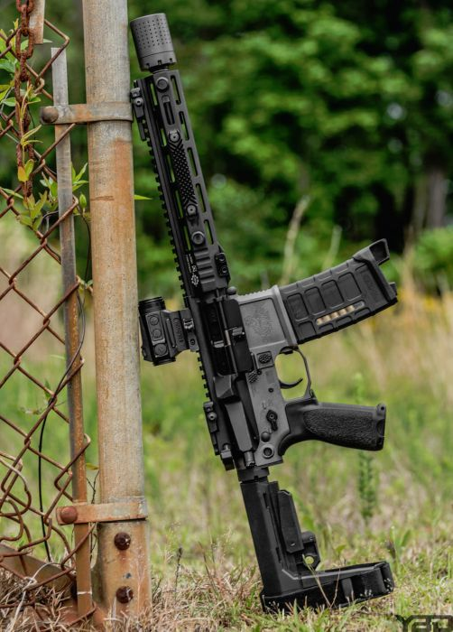 A solid San Tan Tactical and Cross Machine Tool AR Pistol.