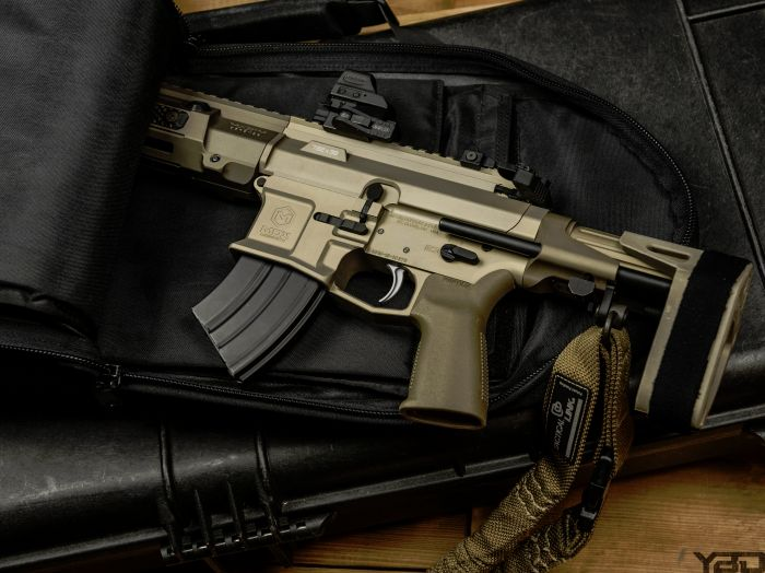 The Maxim Defense PDX is one nasty little firearm.  With an overall length of 18.75in it can be easily concealed in a backpack.  This specific one is chambered in 7.62x39 but do offer them in 556 as well.  Maxim equipped their PDX line with their HATEBRAKE which minimizes recoil, decreases muzzle flash, pushes gases and the concussion wave downrange away from the user.  It's truly a unique design.