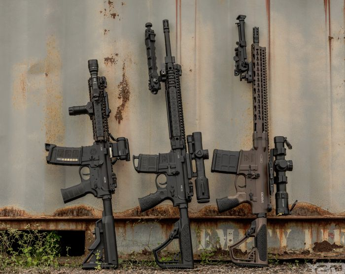 The Daniel Defense Family all ready for a family photo. From left to right:  MK18, MK12, DD5V1