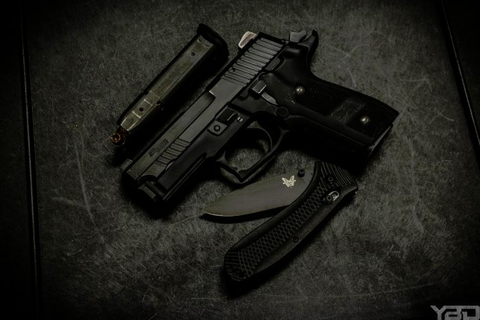 The Sig Sauer P229 Dark Elite and Benchmade Presidio Ultra make a great combo.