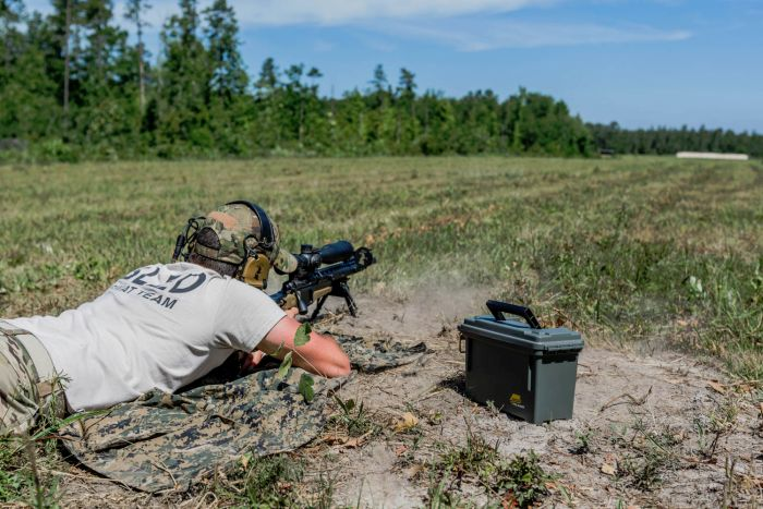 Ringing steel at the 800 yard line on our sniper range.