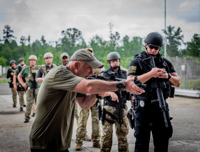 Director of Training Dennis O'Connor demonstrating to his students during our Basic SWAT Course.