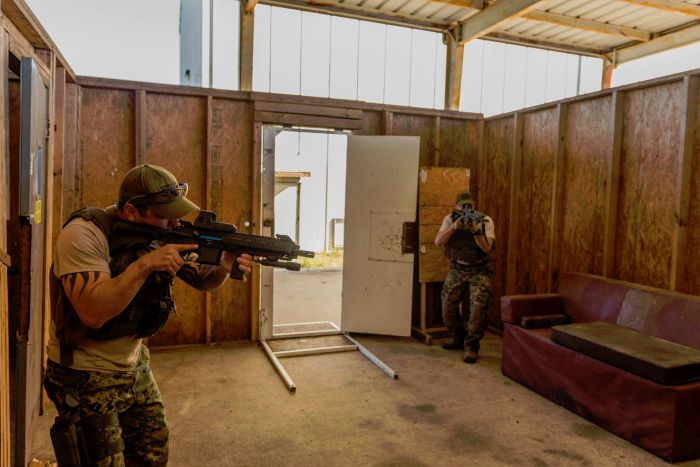 Two-man room clearings during our CQB Course.