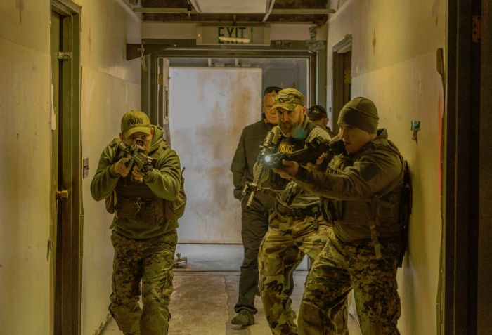 SWAT Team members clearing a hallway inside our fully decommissioned nuclear facility.