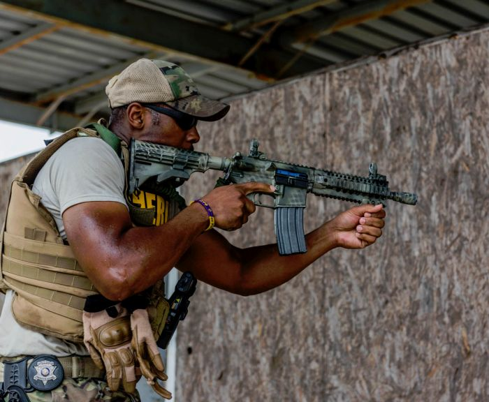 A SWAT Operator providing security during our Basic SWAT Course.