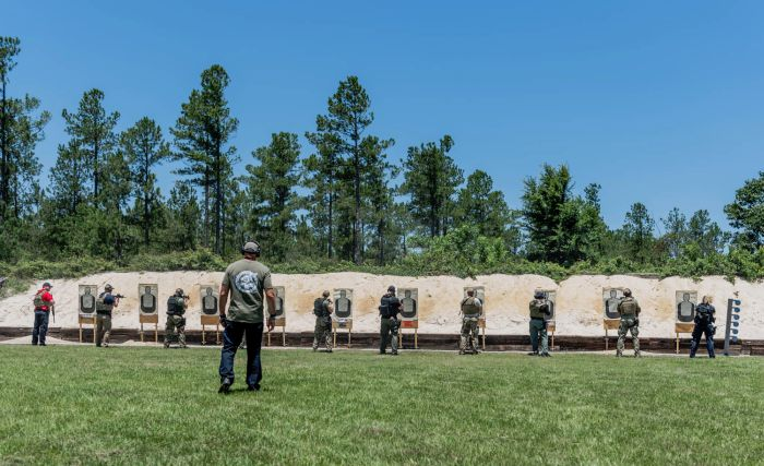 Director of Training Dennis O'Connor watching his students during some live fire training on our range during a Basic SWAT Course.