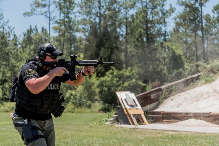 A SWAT Operator practicing with his patrol rifle.