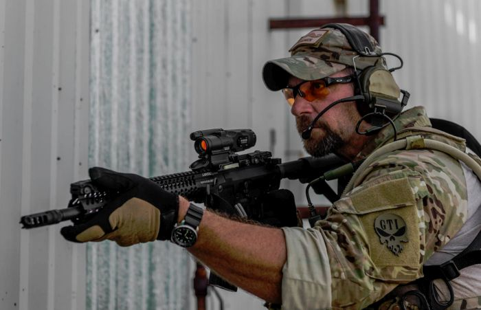 A photo from our photoshoot with Aimpoint showing off their new COMP M5 optics.
